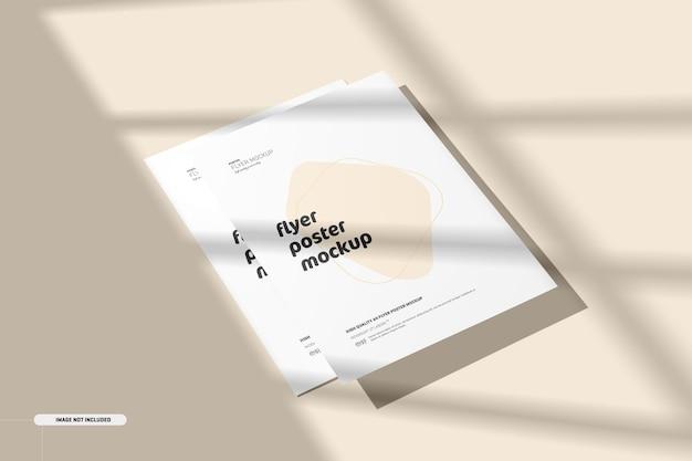 Modelo de pôster de panfleto com sobreposição de sombra