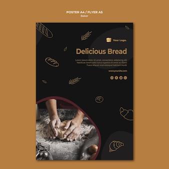 Modelo de pôster de pão delicioso