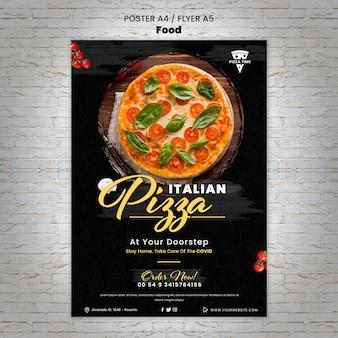 Modelo de pôster de pizza italiana