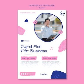 Modelo de pôster de plano de negócios digital