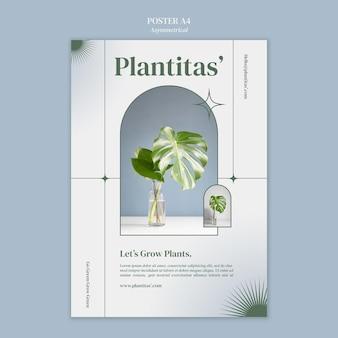 Modelo de pôster de plantas em cultivo