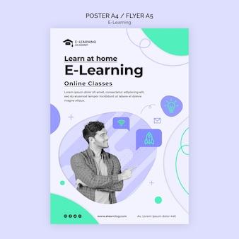 Modelo de pôster de plataforma de e-learning