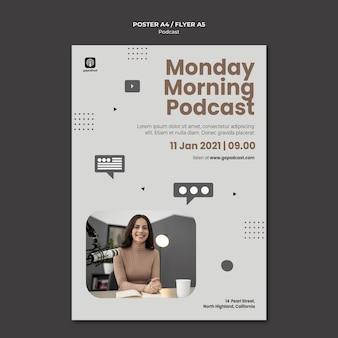Modelo de pôster de podcast com foto