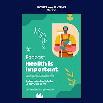 Modelo de pôster de podcast de saúde