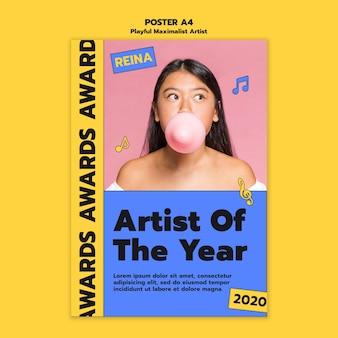 Modelo de pôster de prêmios para artistas