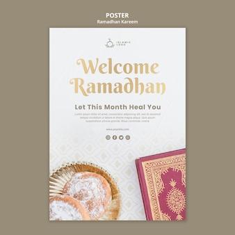 Modelo de pôster de ramadã com foto