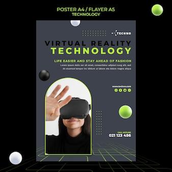 Modelo de pôster de realidade virtual de tecnologia