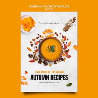 Modelo de pôster de receitas de outono