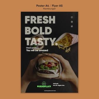Modelo de pôster de restaurante de hambúrguer