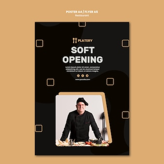 Modelo de pôster de restaurante de inauguração suave