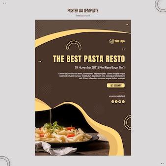 Modelo de pôster de restaurante de massas