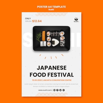 Modelo de pôster de restaurante de sushi