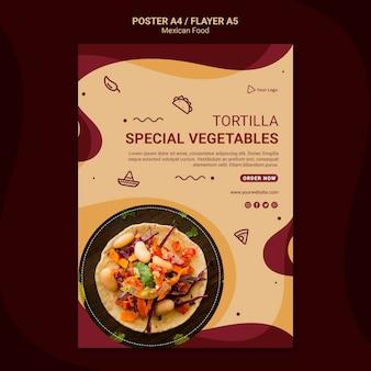Modelo de pôster de restaurante mexicano