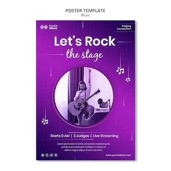 Modelo de pôster de rock the stage