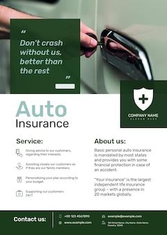 Modelo de pôster de seguro de automóveis psd com texto editável