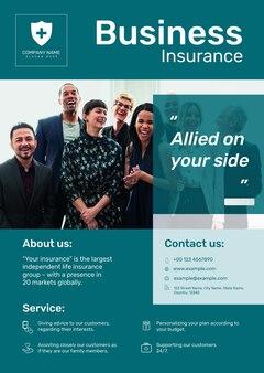 Modelo de pôster de seguro empresarial psd com texto editável