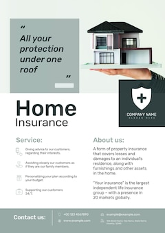Modelo de pôster de seguro residencial psd com texto editável
