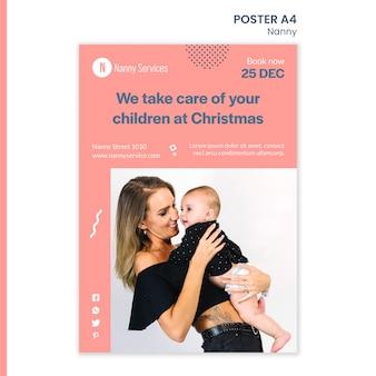 Modelo de pôster de serviços de babá