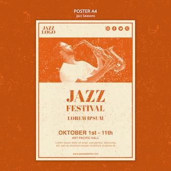 Modelo de pôster de sessões de jazz