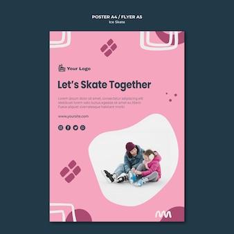 Modelo de pôster de skate no gelo