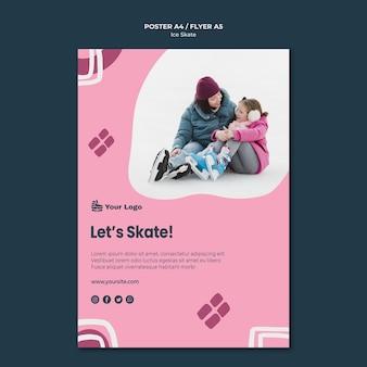 Modelo de pôster de skate no gelo Psd grátis