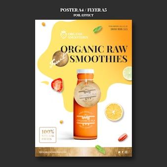 Modelo de pôster de smoothies orgânicos
