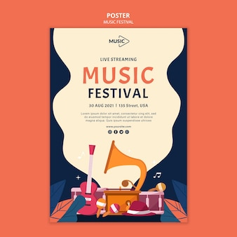 Modelo de pôster de streaming ao vivo para festival de música