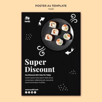 Modelo de pôster de sushi com foto