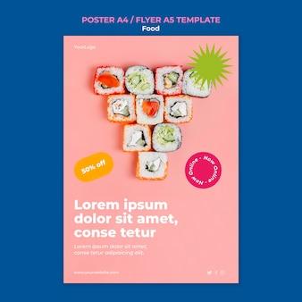 Modelo de pôster de sushi delicioso