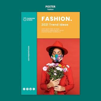 Modelo de pôster de tendências de moda