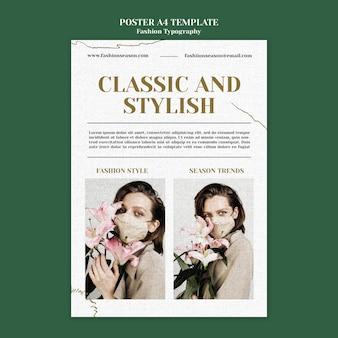 Modelo de pôster de tipografia de moda