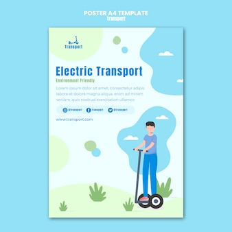 Modelo de pôster de transporte elétrico