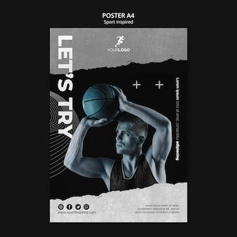 Modelo de pôster de treinamento de basquete