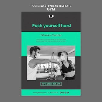 Modelo de pôster de treino de fitness
