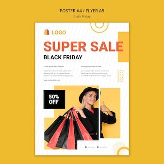 Modelo de pôster de venda da black friday