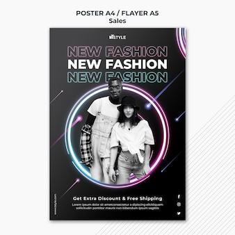 Modelo de pôster de vendas de moda