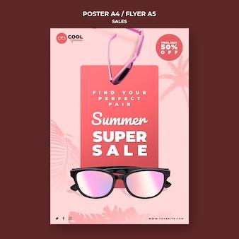 Modelo de pôster de vendas de óculos
