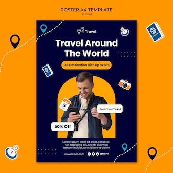 Modelo de pôster de viagens pelo mundo