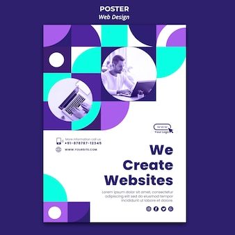 Modelo de pôster de web design
