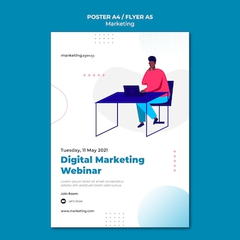 Modelo de pôster de webinar de marketing digital