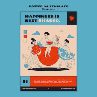 Modelo de pôster de webinar sobre felicidade