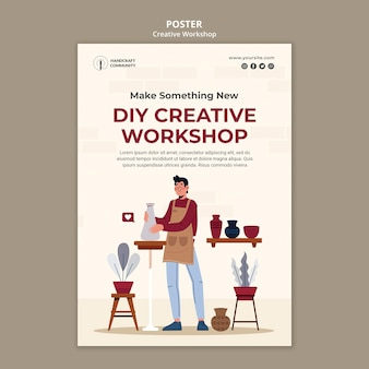 Modelo de pôster de workshop criativo Psd Premium