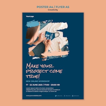 Modelo de pôster de workshop de criatividade
