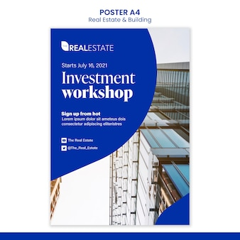 Modelo de pôster de workshop de investimento