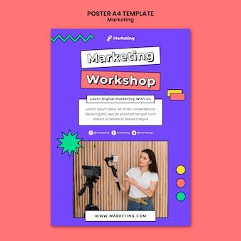 Modelo de pôster de workshop de marketing