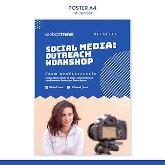 Modelo de pôster de workshop de mídia social