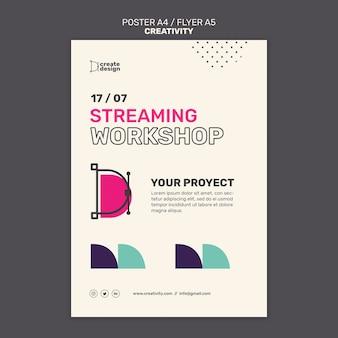 Modelo de pôster de workshop de streaming