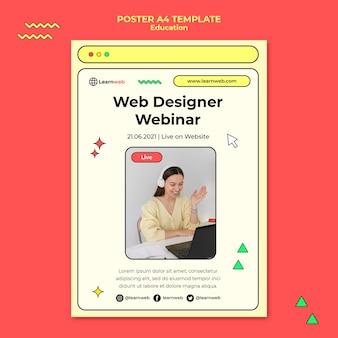 Modelo de pôster de workshop de web design