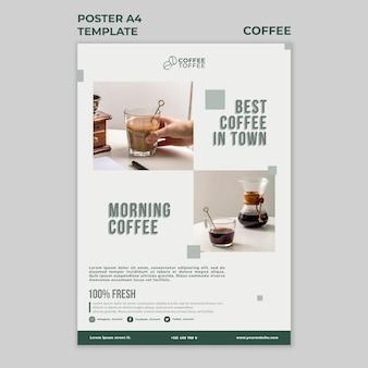 Modelo de pôster de xícaras de café