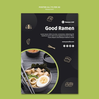 Modelo de pôster delicioso restaurante ramen